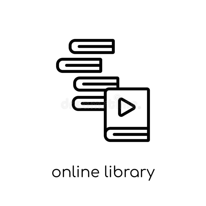 Online biblioteczna ikona  ilustracji