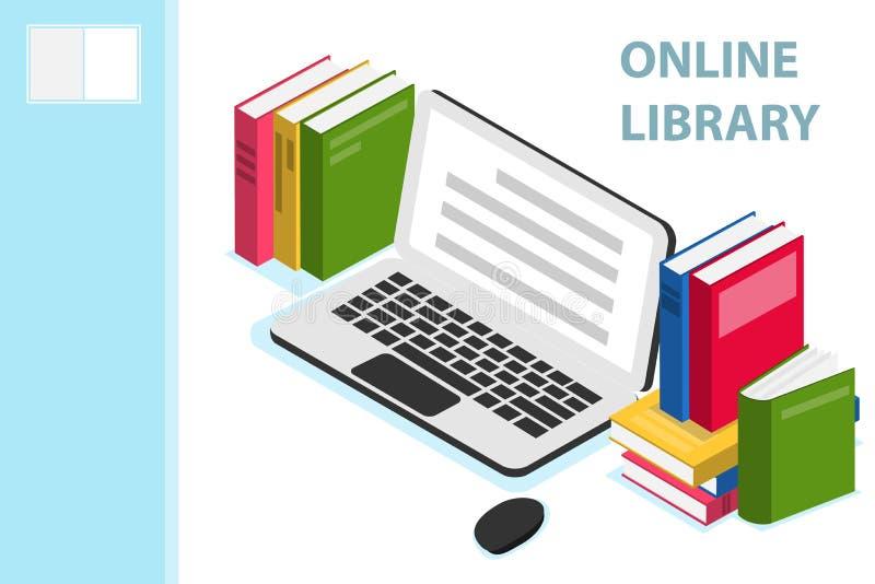 Online biblioteczny isometric pojęcie Online biblioteczny isometric projekt z książkami Technologia i literatura, cyfrowa kultura ilustracji
