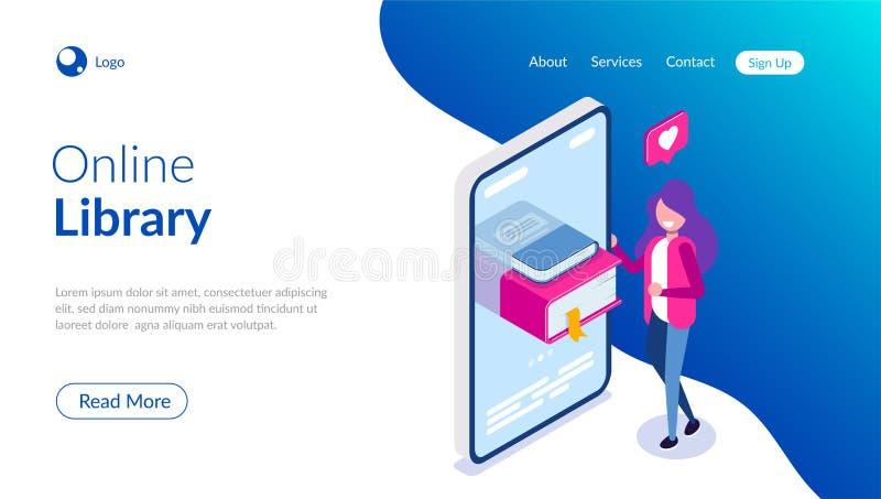 Online bibliotheekconcept Boeken in uw telefoon of tablet Jonge te lezen meisjesliefde Kan voor Webbanner, infographics gebruiken stock illustratie