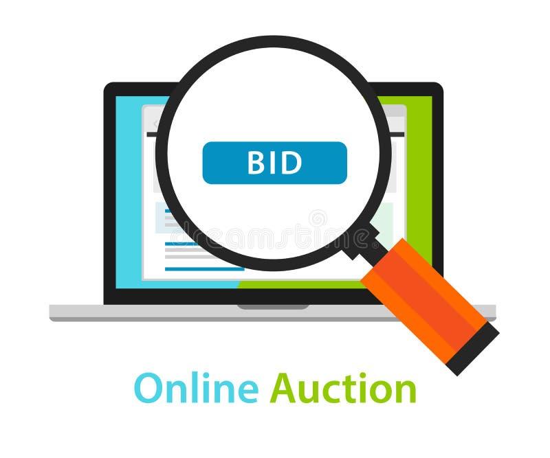 Online bidding auction laptop bid button concept icon royalty free illustration