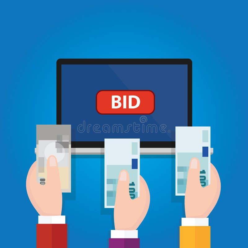 Online bidding auction laptop bid button hand raised money cash stock illustration