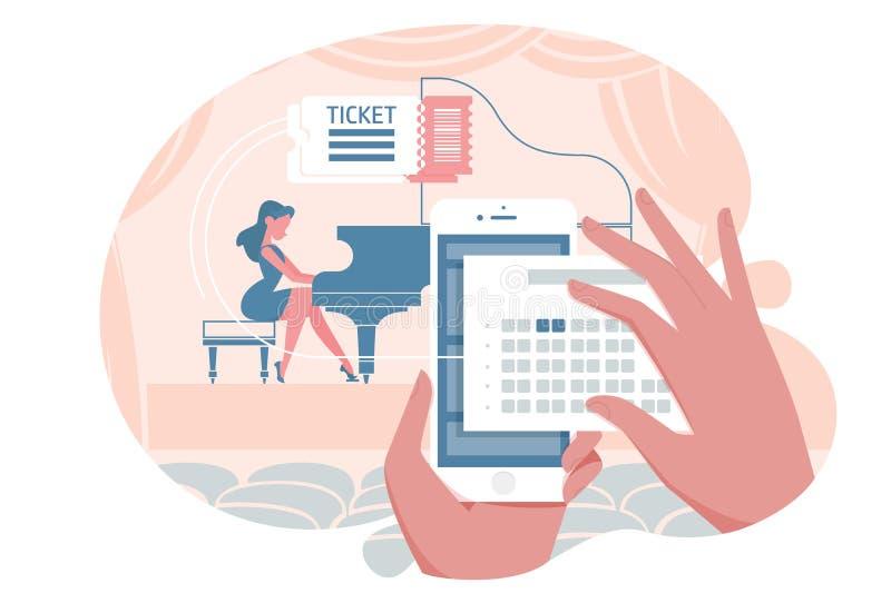 Online bilet dla koncerta ilustracja wektor