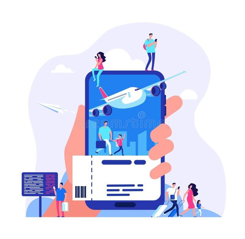 Online-biljettbegrepp Köpande biljetter med smartphonen Folk som bokar illustrationen för nivå- eller drevloppvektor vektor illustrationer