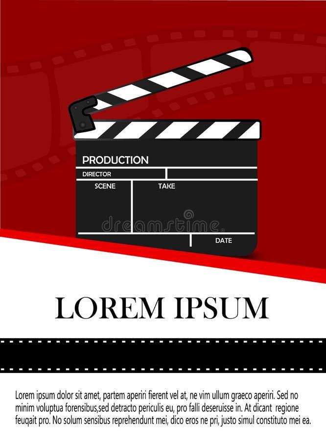 Online-biobakgrund med filmrullen och Clapperbr?det Vektorreklamblad eller affisch Illustration av filmbransch Mall f?r royaltyfri illustrationer