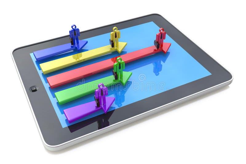 Online biznesowa rywalizacja 3d turniejowy pojęcia ilustraci lider Pojęcie 3d royalty ilustracja