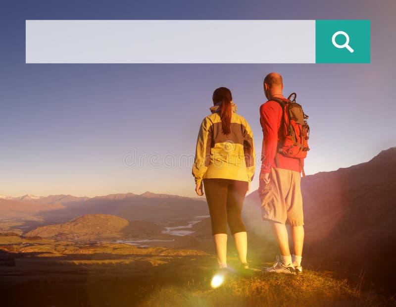 Online-bläddra sökande begrepp för sökandeaskrengöringsduk arkivfoton