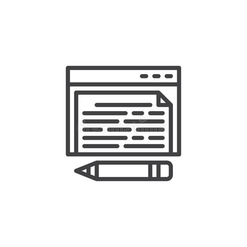 Online blogging kreskowa ikona ilustracji