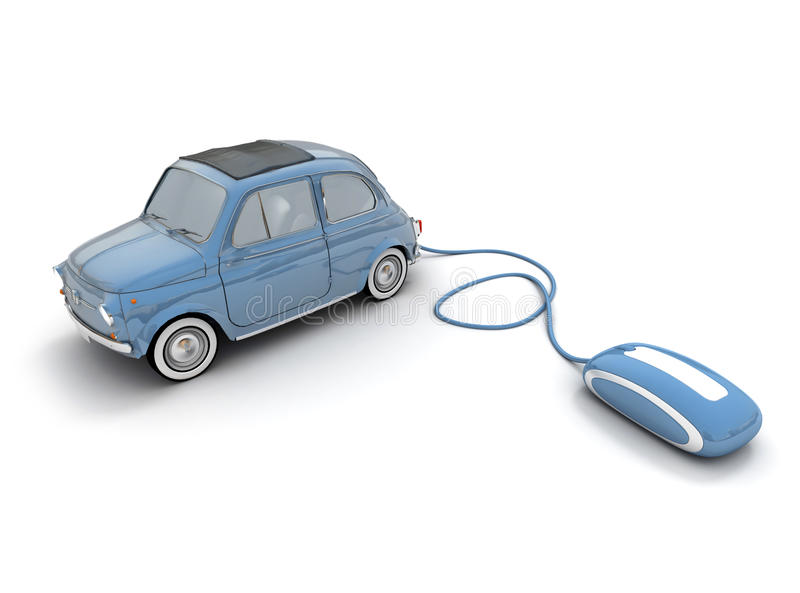 Online blue vintage car vector illustration