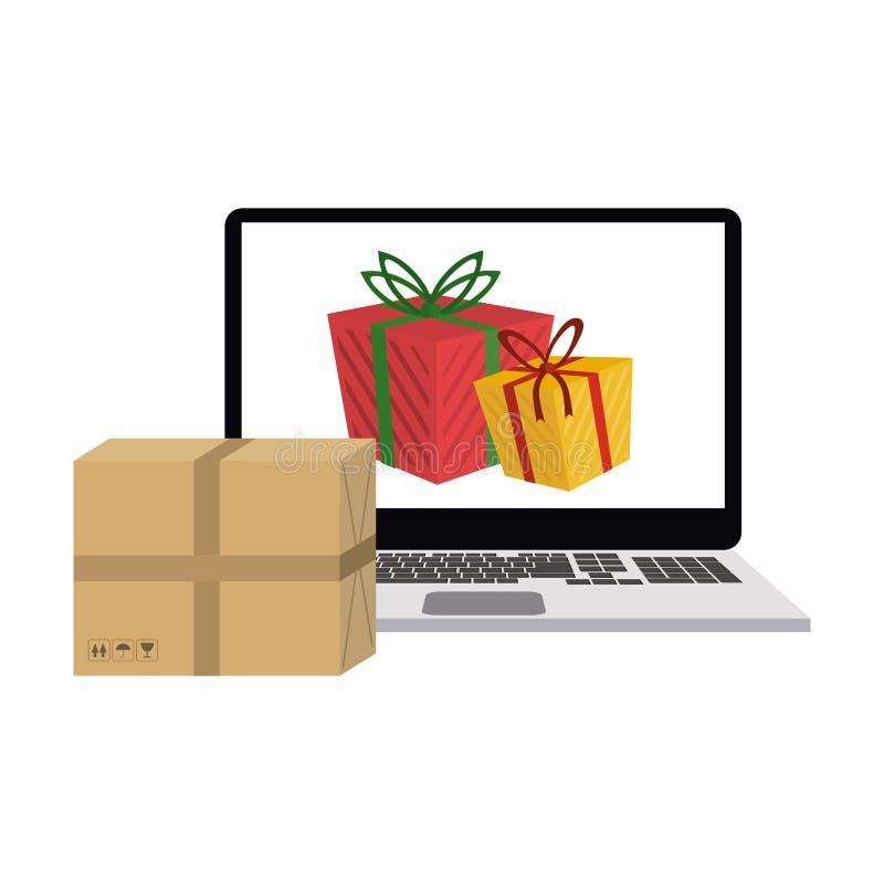 Online Bożenarodzeniowy zakupy ilustracja wektor