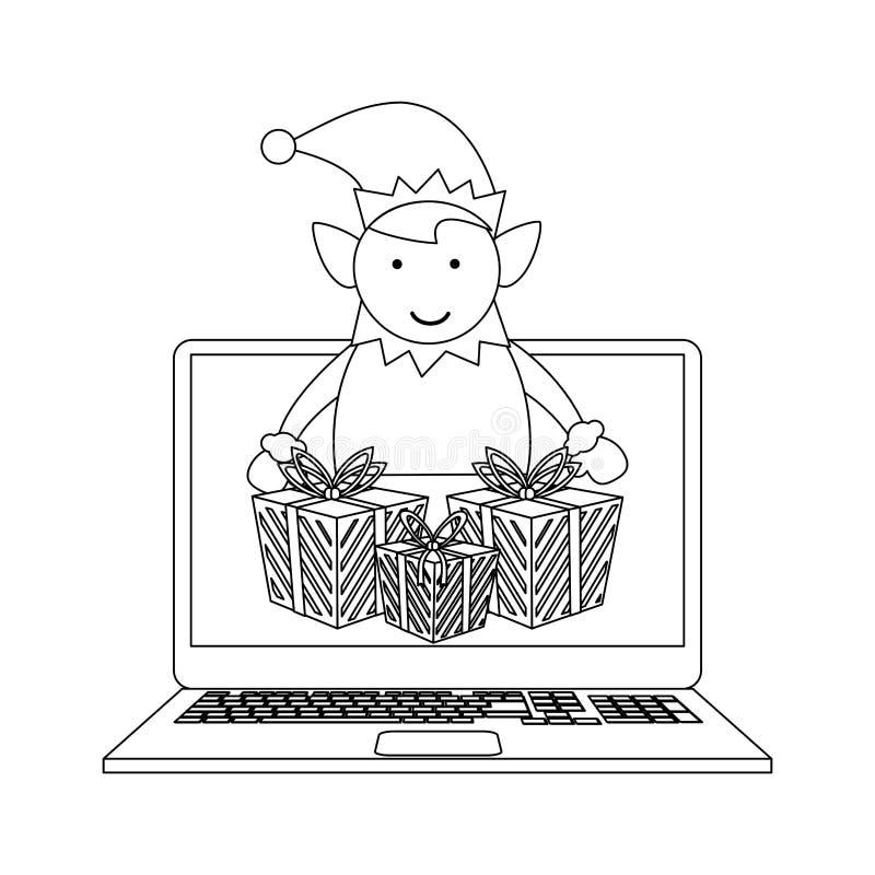 Online bożych narodzeń robić zakupy czarny i biały ilustracji