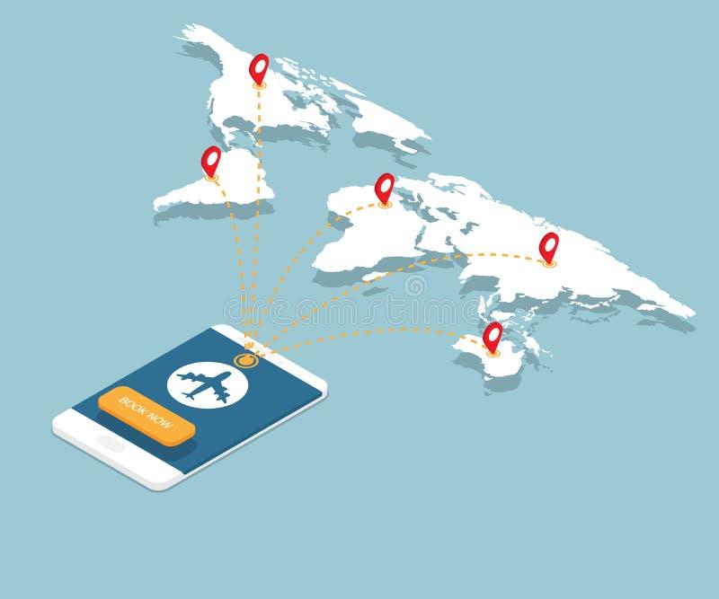 Online boekend op smartphone met de routes van de vliegtuigvlucht stock illustratie