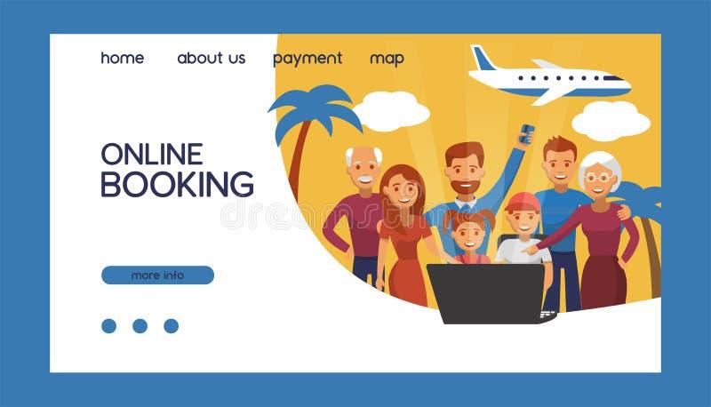 Online boekingen van vliegtickets voor vectorillustratie Online tickets boeken Reizen en zakenvluchten wereldwijd gelukkig vector illustratie