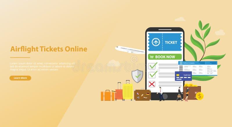 Online-bok- eller bokabiljetter för airflight begrepp med mallen för smartphoneappforwebsite som landar homepage med den moderna  stock illustrationer
