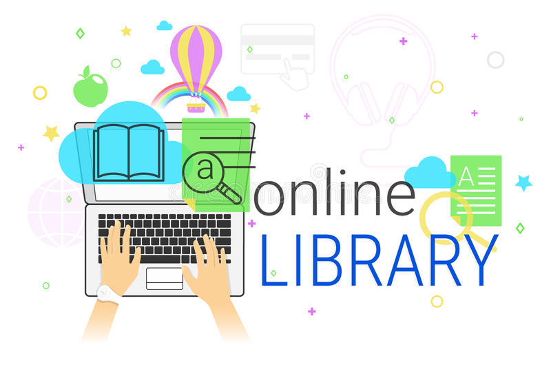 Online book and electronic library app on laptop creative concept vector illustration royalty free illustration