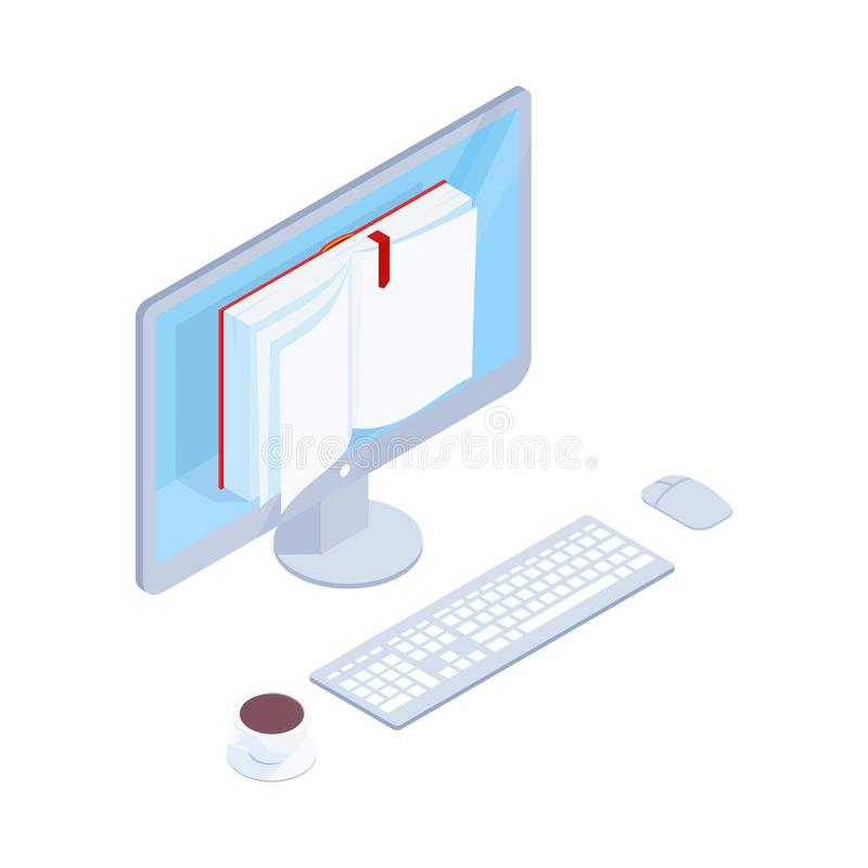 Online book isometric concept. 3d book on the computer screen. Reading electronic books online on computer. Education concept. Vector illustration royalty free illustration