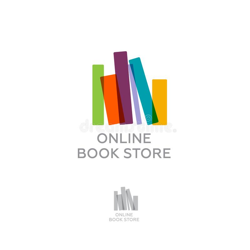 Online book store. Digital library. Colorful books with letters. stock illustration