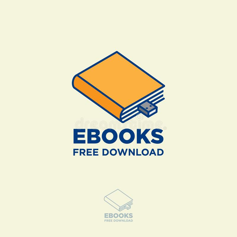 Online book store. Digital library. Yellow book as flash drive on a light background. stock illustration