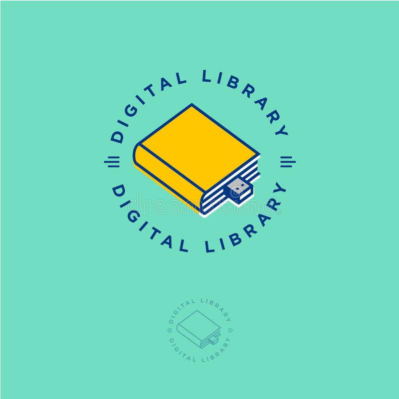 Online book store. Digital library. Yellow book as flash drive on a green background. royalty free illustration