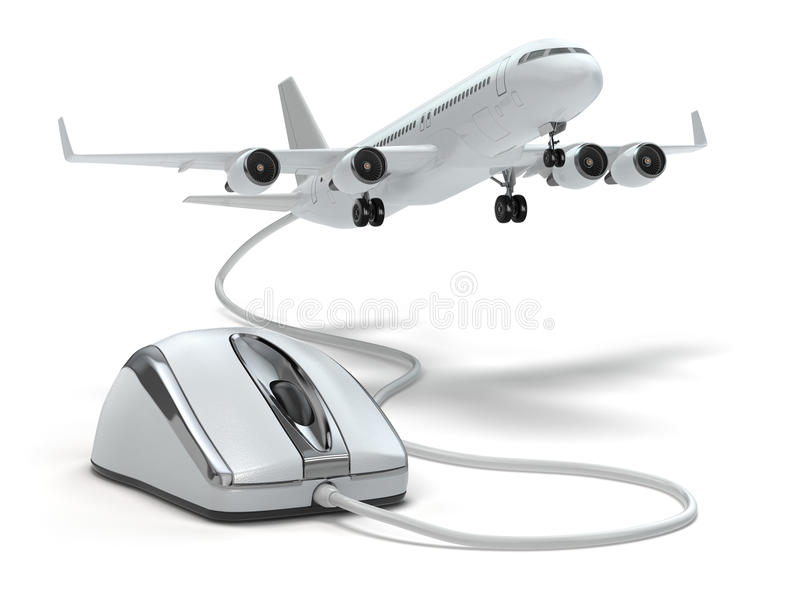 Online booking flight or travel concept. Computer mouse and airplane. vector illustration