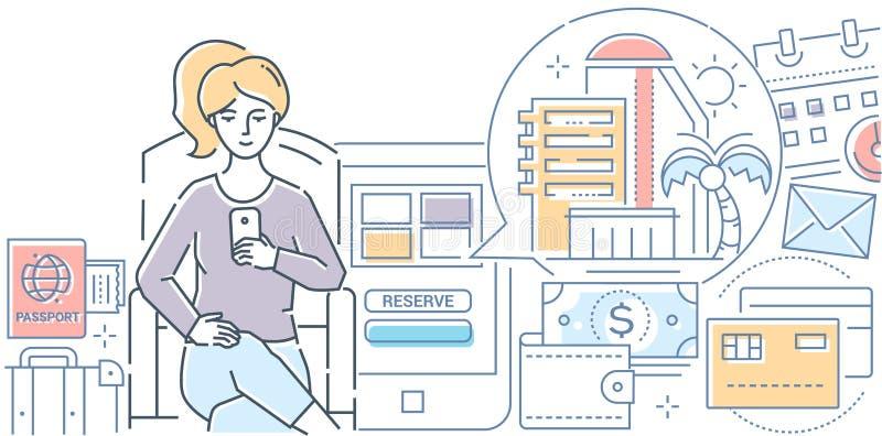 Online booking - modern line design style vector illustration vector illustration