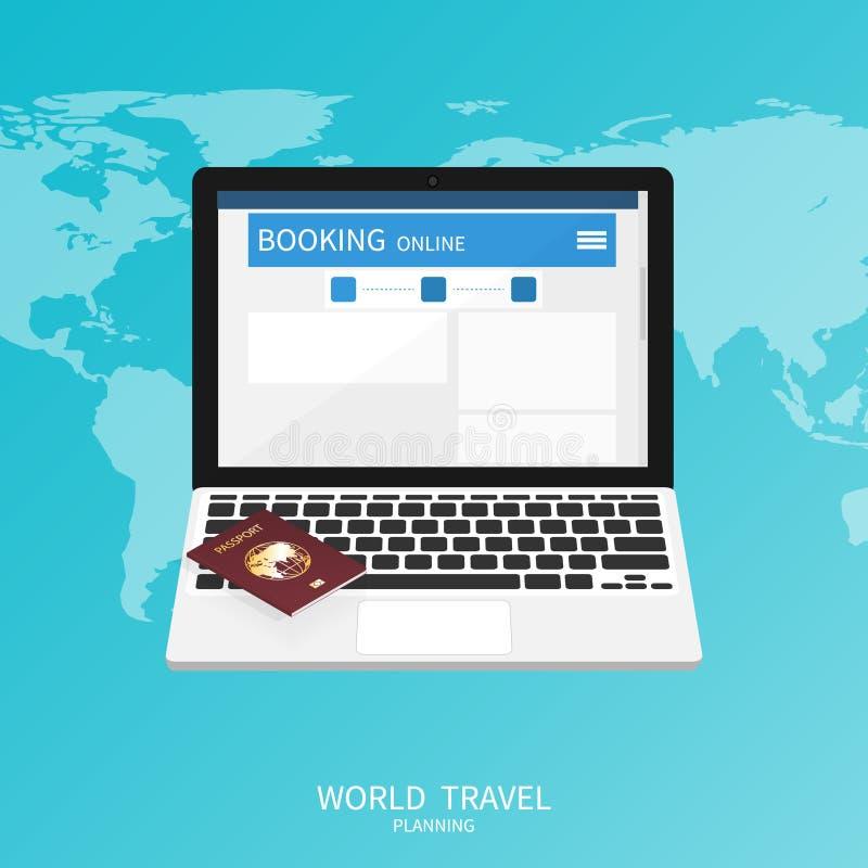 Online booking ,passport world map,trip plan travel banner vector vector illustration