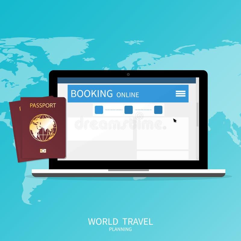 Online booking ,passport world map,trip plan travel banner vector stock illustration
