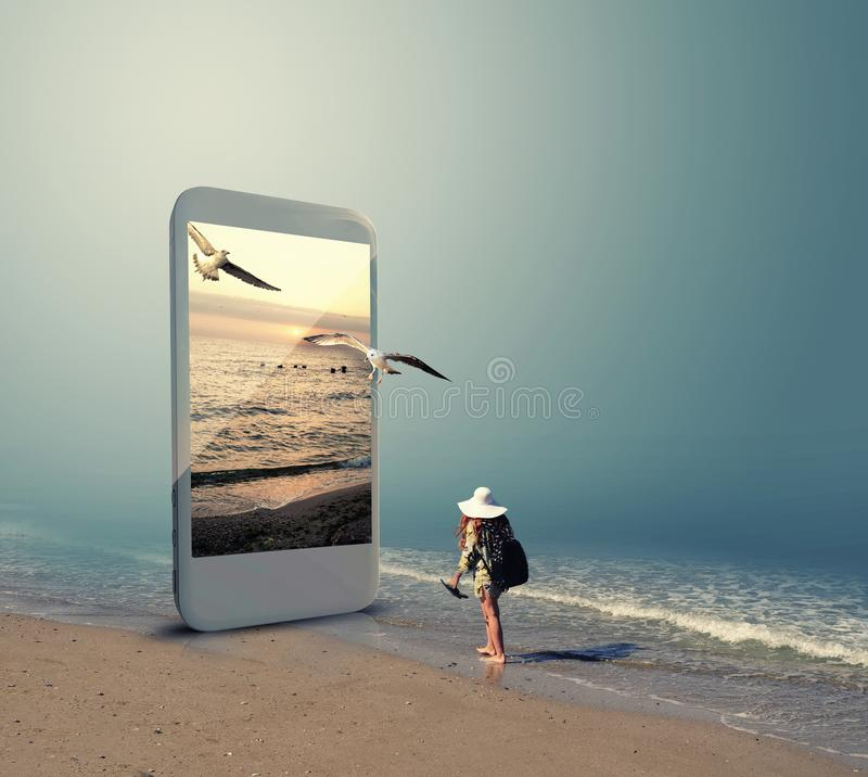 Online booking through phone royalty free stock images