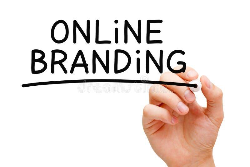 Online Branding Black Marker. Hand writing Online Branding with black marker on transparent wipe board stock images