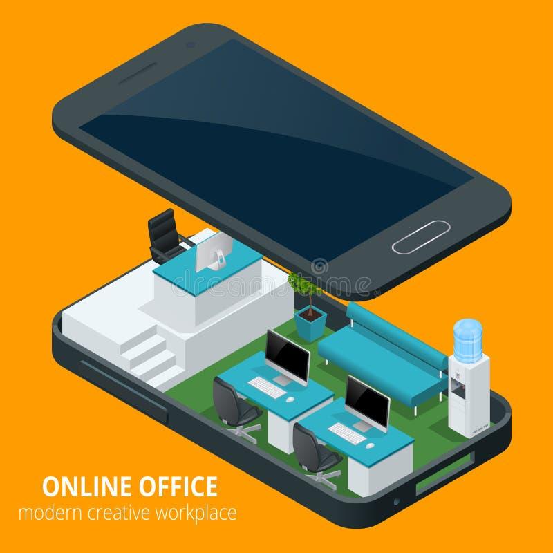 Online bureauconcept Het isometrische vectorwerk van het illustratiebureau, bedrijfsconcept, kantoormeubilair, werkschema is stock illustratie