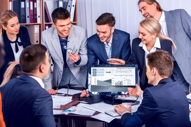 Online business coaching. People office life of team people working. royalty free stock image