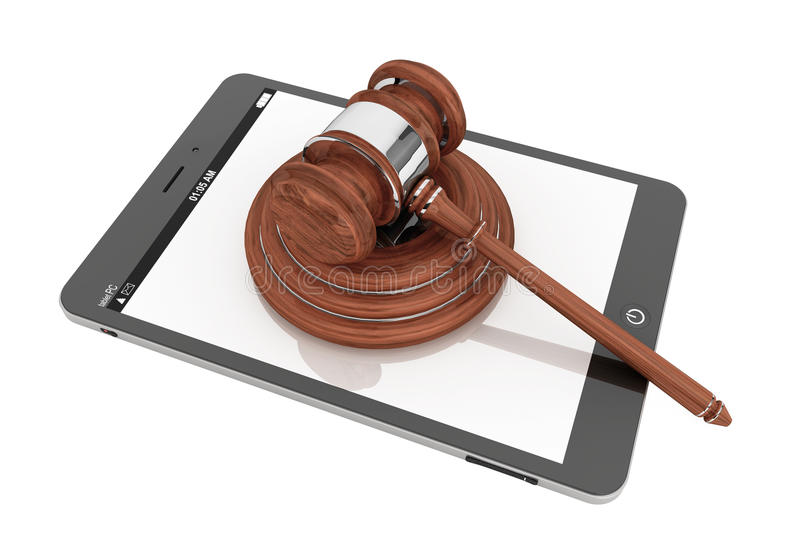 Online Business Concept. Tablet PC With A Gavel Royalty Free Stock Images