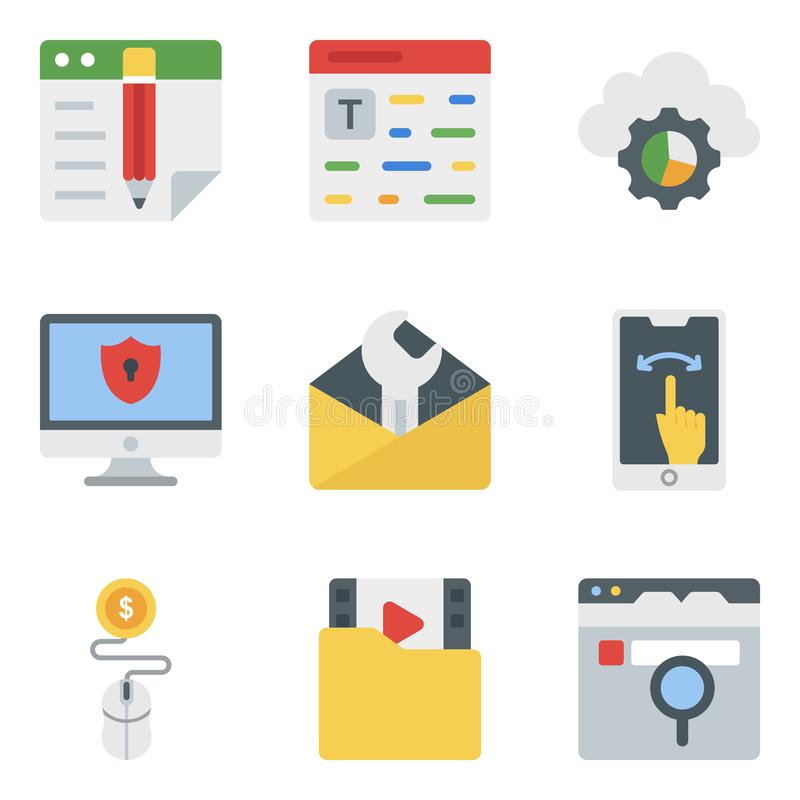 Online Business Flat Icons Pack stock photo