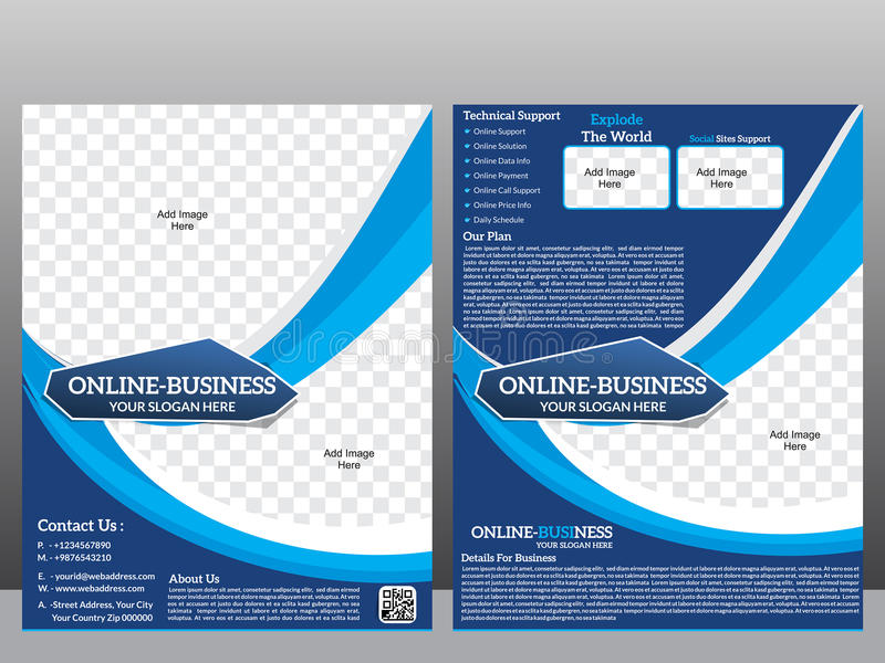 Online business flyer template & Magazine. Vector illustration stock illustration