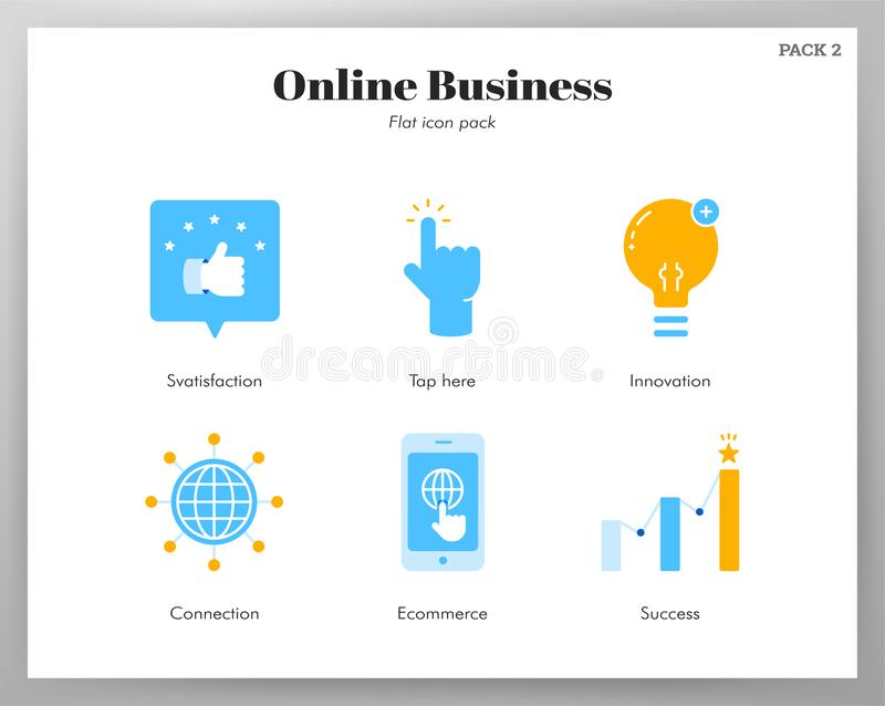 Online business icons flat pack royalty free illustration