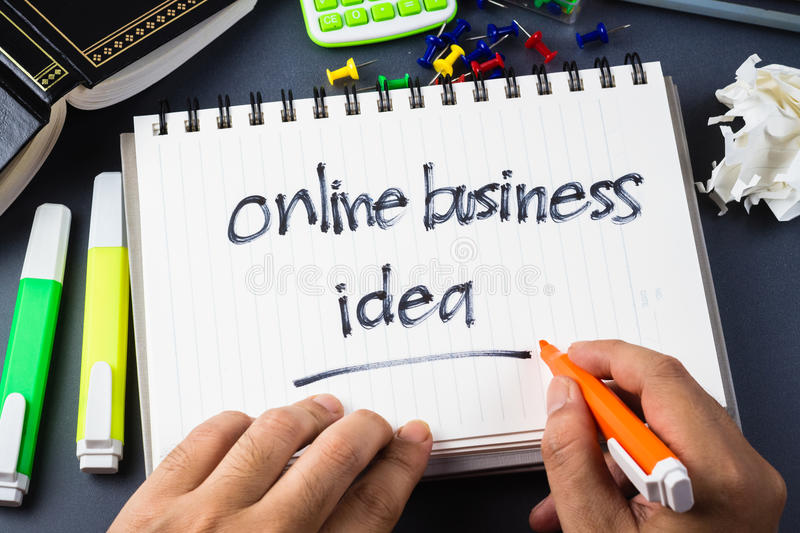 Online business idea. On the desk with handwriting of Online Business Idea word in notebook royalty free stock photo