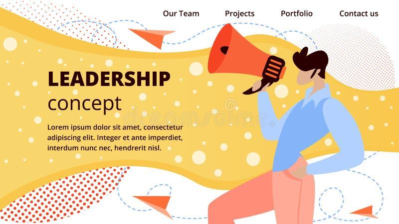 Online Business Leadership flat vector Web Banner. Company Leadership, Successful Online Business Flat Vector Web Banner, Landing Page Template. Male royalty free illustration