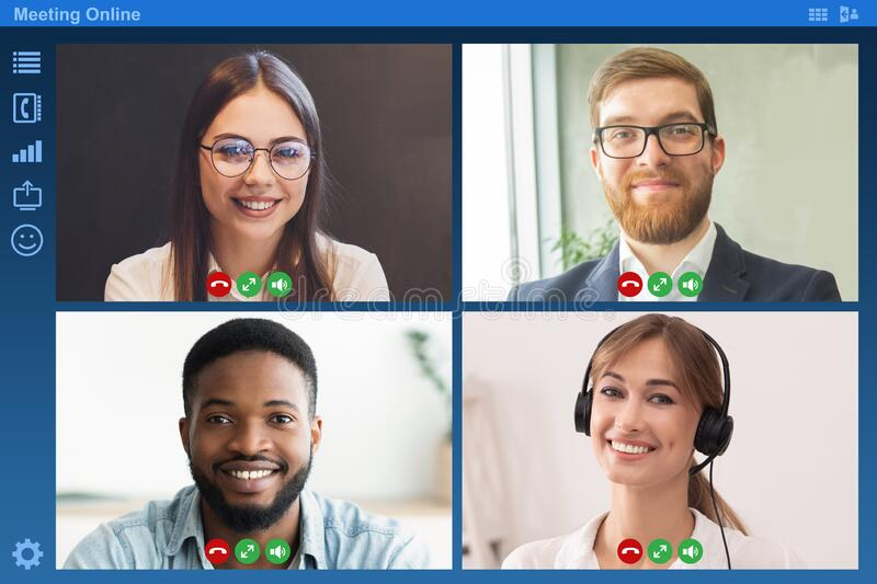 Online business meeting. Screen with coworkers having video conference via internet. Collage. Online business meeting. Screen with happy coworkers having video stock image