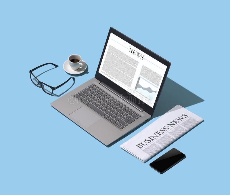 Online business news and financial newspaper. Isometric desktop, information and press concept stock illustration