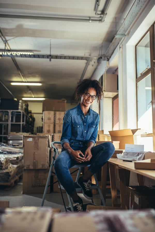 Online business owner at her office stock photography