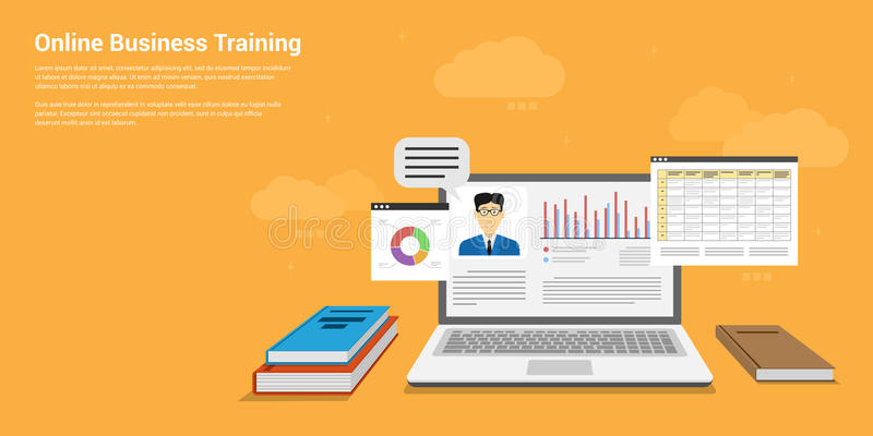 Online business training. Flat style banner design of online business training, webinar, online education concept royalty free illustration