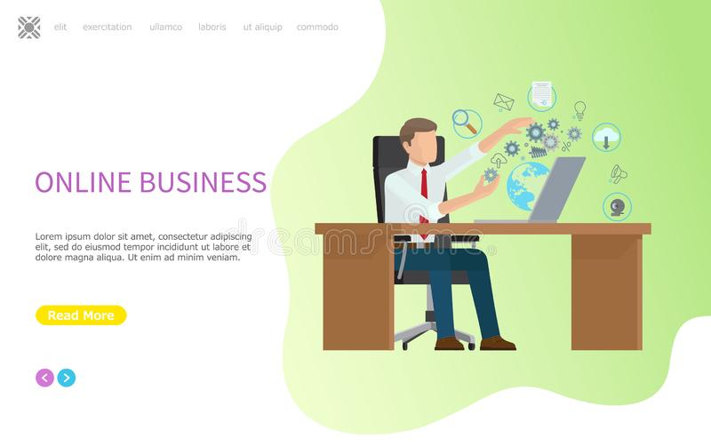 Online Business Web Poster, Processes in Computer royalty free illustration
