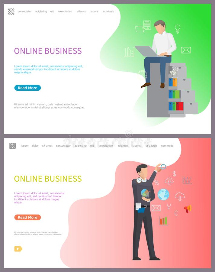 Online Business, Workers Performing Tasks at Work. Vector. Boss with global network choosing good option for company. Charts and investigation results. Website royalty free illustration