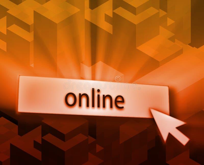 Online button. Illustration clicking on web technology stock illustration