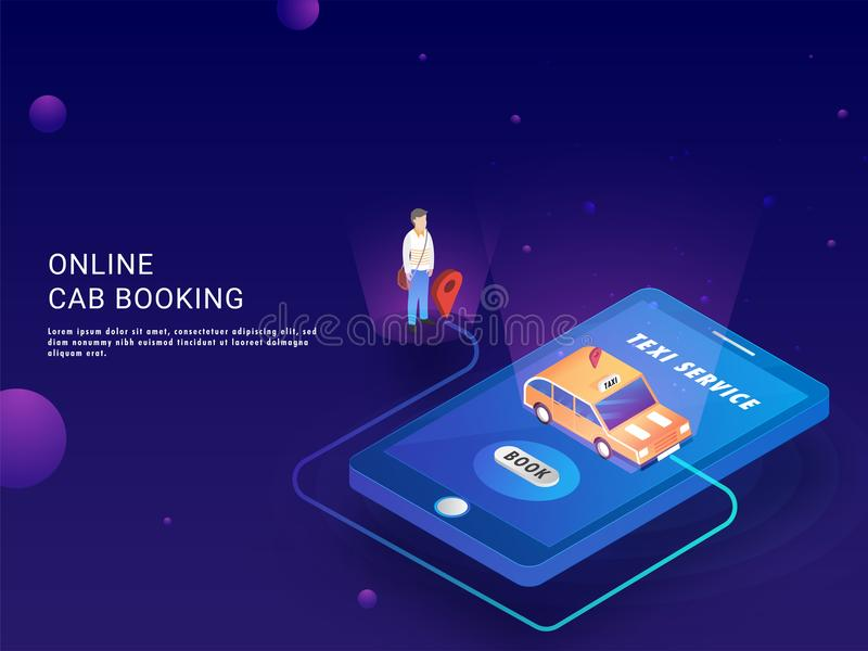 Online Cab Booking landing page or web template with isometric i. Llustration of cab booking app in smartphone with pick up and drop facility vector illustration