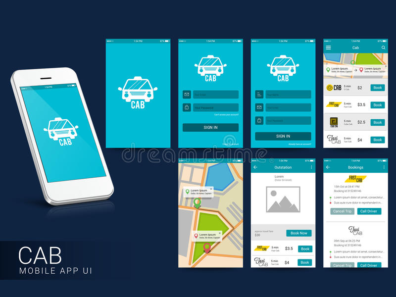 Online Cab Mobile App UI, UX and GUI Screens. Online Cab Mobile App UI, UX and GUI Screens including Sign In, Cab Booking, Map Navigation and Destination royalty free illustration