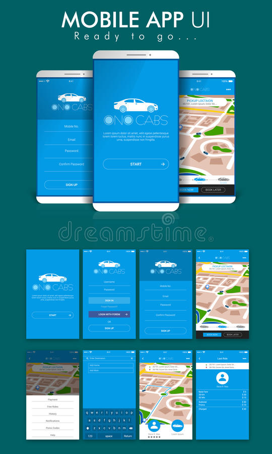 Online Cab Mobile App UI, UX and GUI Screens. royalty free illustration