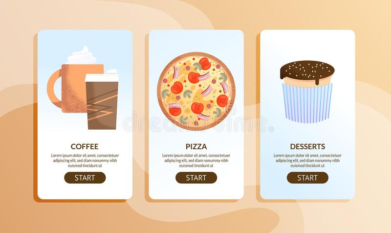 Online Cafe and Delivery Service Mobile Pages Set. Food Information via Internet. Coffee, Italian Pizza and Desserts. Vector Illustration in Flat Cartoon Style stock illustration