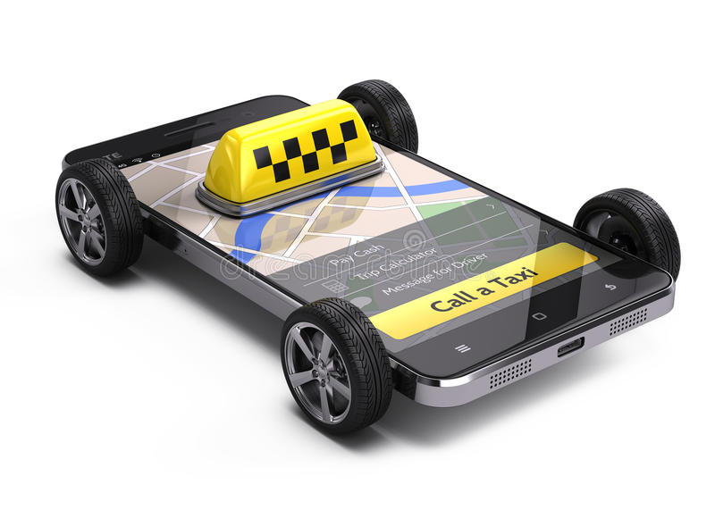 Online call a taxi application service concept. Taxi car sign on smartphone with wheels royalty free illustration