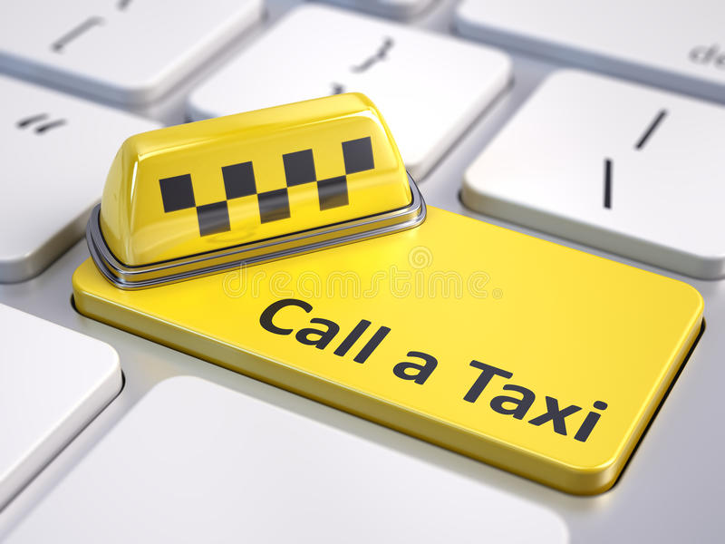 Online call a taxi service concept. Taxi car sign on computer keyboard with yellow taxi button stock illustration