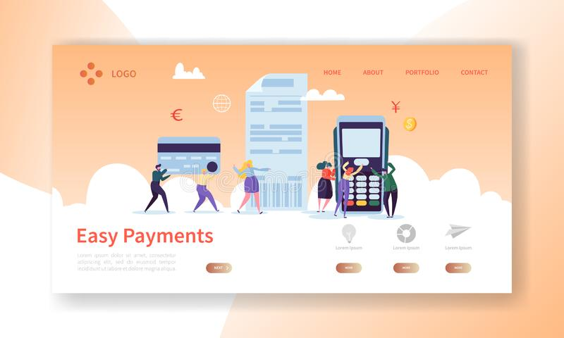 Online Card Payment Concept Landing Page. Easy Payments Banner with Flat People Characters Website Template. Easy Edit. And Customize. Vector illustration royalty free illustration